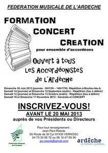 Appel à inscription - Concert Création 2013, pour Batteries-Fanfares &amp&#x3B; Accordéons - Ardèche(07)