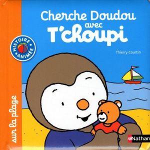 Cherche Doudou avec T'choupi : dans le jardin et à la plage.