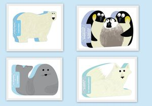 Les animaux en forme : L'ours polaire, le manchot empereur, le renard polaire et le phoque.