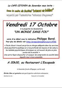 Projection-Débat à Saverdun le 17 Octobre