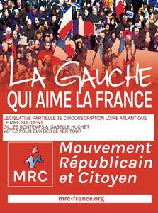 Législative partielle :3e Circonscription Soutien du MRC à Gilles Bontemps PCF