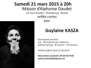 carte blanche à GUYLAINE KASZA: samedi 21 mars à 20h