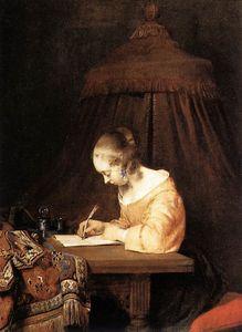 Gérard ter Boch (dit Le Jeune), Femme écrivant une lettre (ca 1655), huile sur bois, 39 × 29,5 cm, La Haye, Mauritshuis.
