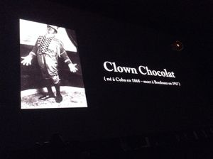 Clown chocolat sur grand écran