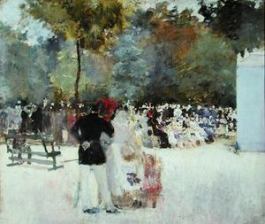THE THEATRE DE GUIGNOL IN THE JARDIN DES TUILERIES - EMILE ANTOINE GUILLIER