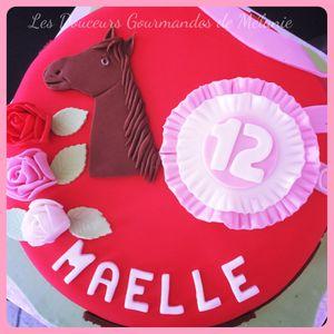 Gâteau 2D : thème équitation - cheval