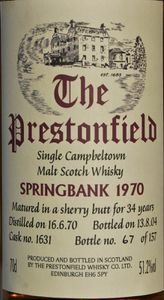 Springbank 34 ans The Prestonfield, 1970/2004, 51.2% (IB)
