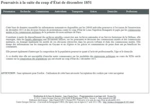 Une base de données sur &quot&#x3B;les poursuivis à la suite du coup d'Etat de décembre 1851&quot&#x3B;.