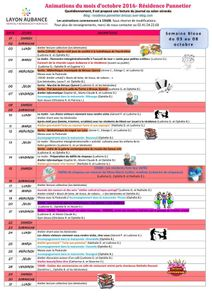Programme des animations d'Octobre