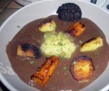 Crème de boudin noir aux petits légumes