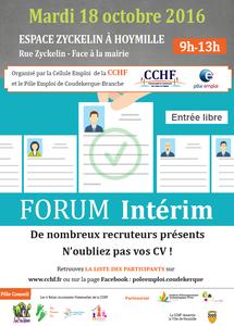 La CCHF organise son 4ème forum intérim le mardi 18 octobre prochain !