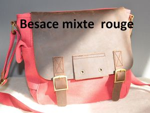 besace bandouliere toile rouge rabat cuir