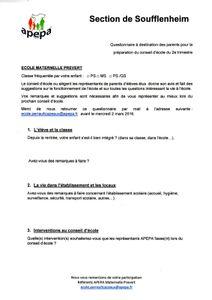 Questionnaire de preparation au conseil d'école du 2e trimestre