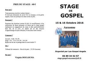 Stage Gospel 15-16 Octobre