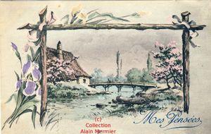 Iris -3579- Mes pensées. Paysage, pont. France. 1927.
