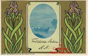 Iris -3612- Art nouveau. Lac, barque. Allemagne. 1903.