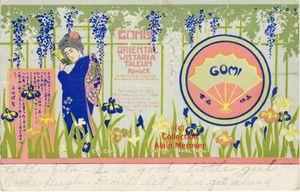 IRIS - 3639- Japan. Publicité. &quot&#x3B;Gomis oriental wislaria talcum power&quot&#x3B;. USA. 1912.