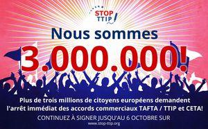 Plus de 3 millions de citoyens demandent l'arrêt de TAFTA et de CETA