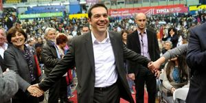 Photo : Alexis Tsipras, lors d'un meeting de Syriza.