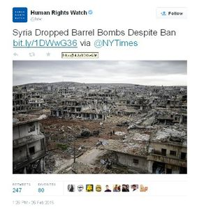 Human Rights Watch accuse les bombes baril syriennes d'avoir causé les destructions perpétrées par les Américains (Moon of Alabama)