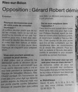 Suite à la démission de M. Robert