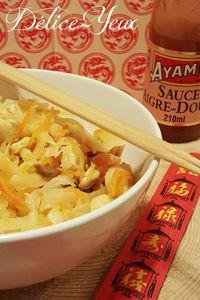 Nouilles de riz au poulet et aux légumes