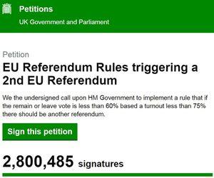 Capture d'écran ce matin (7:55) sur le site du Parlement britannique (https://petition.parliament.uk/petitions/131215)