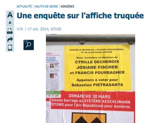 &quot&#x3B;Affiche truquée&quot&#x3B; : Le Parisien s'est trompé.