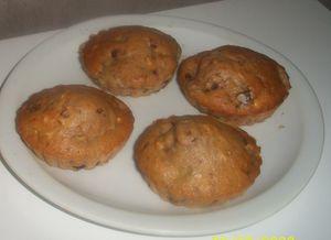 muffins au lait croquant au m&amp&#x3B;ms et ses morceaux de banane