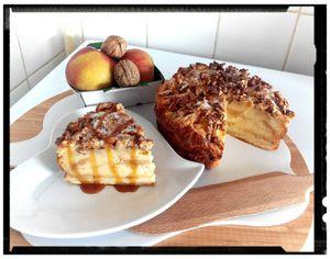 Charlotte aux pommes vanille caramélisées et noix façon pudding