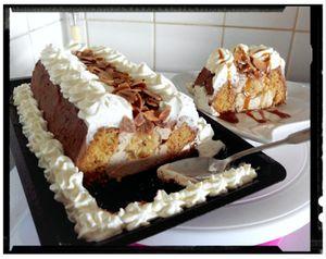 Victoria cake banana crème petit suisse au miel enrobage chocolat chantilly
