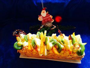 Bûche de Noël : crème allegée citron et fruits exotiques