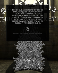TakeTheThrone : Construisez le trône de Game Of Thrones avec vos tweets