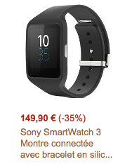 Offre flash : Sony Smartwatch 3 149€90