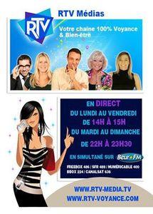 Mes prochains passages sur RTV chaîne 100% voyance &amp&#x3B; Bien être