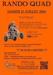 Rando quad et moto à Tayrac (47) le samedi 12 juillet 2014