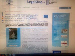 Notre article sur le droit d'accès à internet publié dans le Village de la Justice !