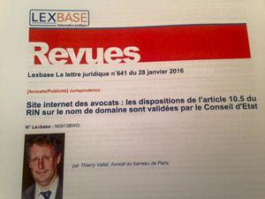Site internet des avocats: notre article du 28 janvier 2016 sur les dispositions de l'article 10.5 du RIN publié dans Lexbase