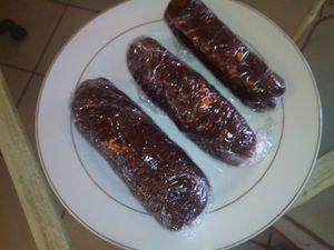 Saucisson nougat et chocolat ( spécial pâques)