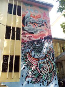Une fresque unique sur la façade de l'Alliance française de Wuhan !