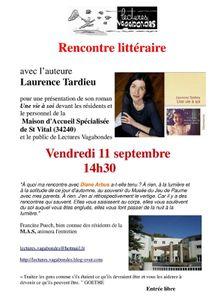 Rencontre littéraire avec Laurence Tardieu, vendredi 11 septembre, 14h30 à Combes, M.A.S. Saint Vital