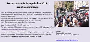 La Mairie recrute des agents pour le recensement 2016 (pour 5 semaines)