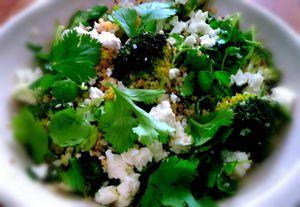 Salade de quinoa et boulghour au brocolis et féta