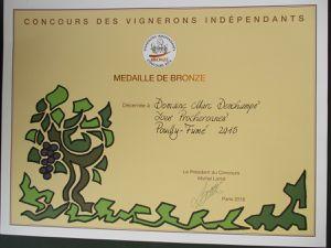 Médaille de Bronze au Concours des Vignerons Indépendants 2016