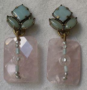 Création de bijoux à Paris / Boucles d'oreille en quartz rose.