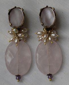 Boucles d'oreille clip en quartz rose.