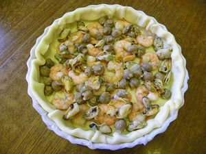 QUICHE AUX FRUITS DE MER ET CHAMPIGNONS (thermomix)