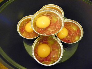 OEUFS COCOTTES CHIFFONNADE ET OIGNONS (thermomix)