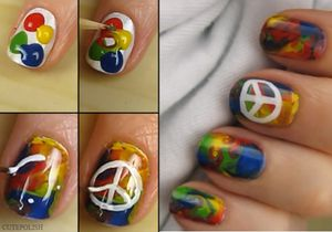 Tutoriel, nail art Hippie, peace and love