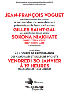 Élections Départementales : soirée de présentation des candidat-e-s Front de Gauche